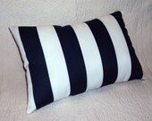Indoor Outdoor Navy Blue Stripe Lumbar Pillow Cover - Two Sizes Available
