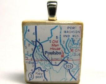 Poulsbo, Washington - 1972 vintage Scrabble tile pendant map