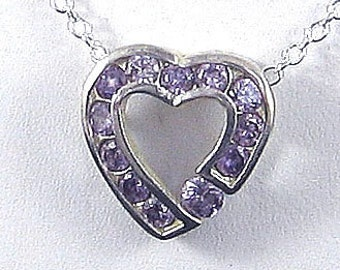 Purple Amethysts Sterling Silver heart  pendant &  925 chain