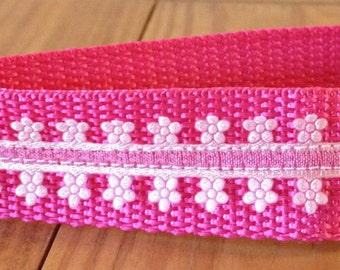 CLEARANCE Lacy Flowers on Magenta Webbing Keychain wristlet