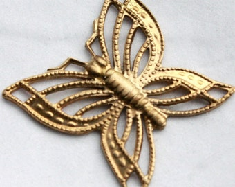 3 Vintage Brass Filigree Spring Butterflies // Art Noveau Insect