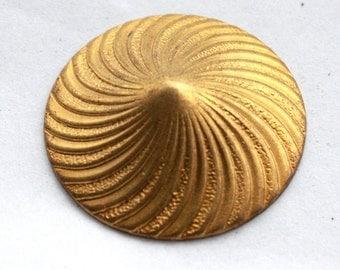 3 Vintage Bright Brass Art Deco Swirl Peak Stampings
