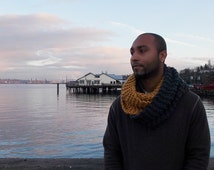 SALE Menswear knitted cowl in charcoal and gold, two tone color blocked wide and thick fashion accessory