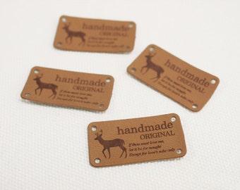 Nordic Handmade Label, Beige Leather Style, 4 pcs, A set, U7008