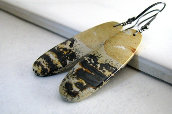 Jasper Earrings, Chohua Jasper, Natural Stone, Long Dangle, Organic, Sterling Silver - Faces