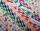Paper Straws 60 Straws With 2 Sets Of 30 Straws 12 Each Color Red,Lime,Blue,Yellow, Peach