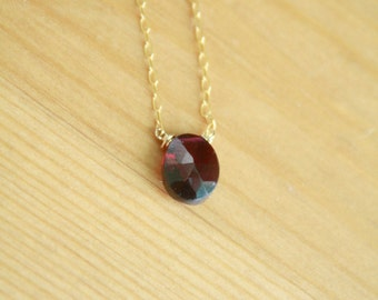 Blood Red Garnet Necklace on Gold