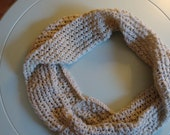 Double Wrap Lace Knit Cream Infinity Scarf