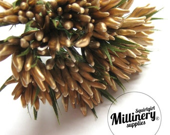 Metallic Gold Spikey Bud Flower Picks / Stamens for Flower Making & Millinery Bunch of 12