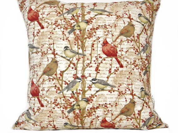 Birds Pillow Cover Cushion Script Cardinals Berries Beige Red