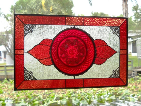 Stained glass panel window valance with vintage ruby red 1940s for 1940s window treatments