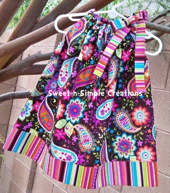 Michael Miller Paisley Spree & Pretty Stripe Pillowcase Dress - 3 months to 6 years old