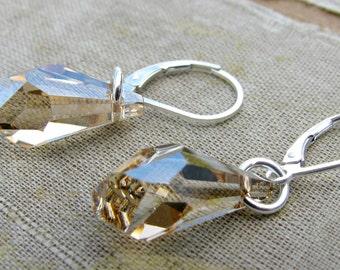 SALE 25% DISCOUNT...Golden Shadow Swarovski Polygon Drop Earrings by Courtney Lee Designs-Sterling Silver