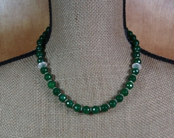 Faceted 10mm Earth Mined 219.00 Carats of Zambian Emerald Gemstones and .925 Sterling Silver Necklace and Earrings