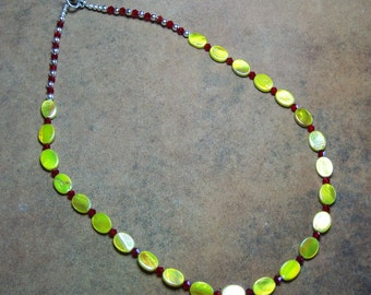 Yellow Shell and Red Crystal , .925 Sterling Silver Necklace