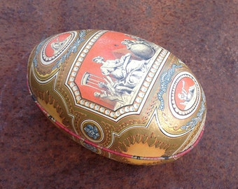 Vintage possibly 1970s tin litho Baroque Rococo Easter egg for holding sweets or candy