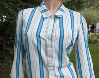 45% OFF Womens 80s Shirt, Vintage Shirt, 80s Costume, Striped Shirt by Devon in Turquoise and White Size 10-12