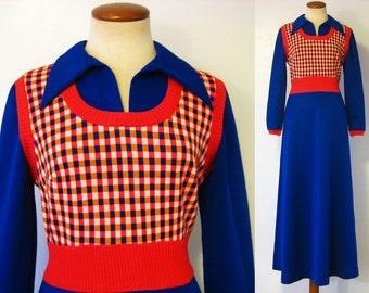 1970s Maxi Dress Open V Neck Collar Empire Waist Blue Orange Sweater Vest Style Bobbie Brooks Long Vintage 70s S Small M Medium Retro Hippie