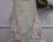Green Gingham and Linens Apron