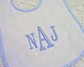 Classic Monogrammed Bib - Blue or Pink Stripe - Monogrammed Baby Gift
