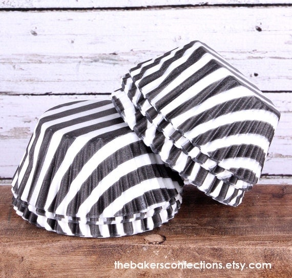 SALE- Black Stripe Cupcake Liners - Wide Stripe Baking Cups (100 count) Half Price Sale!