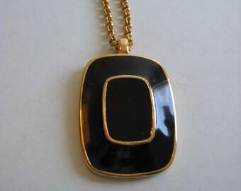 Vintage Triffari necklace.  Black and Gold.  Modernist Pendant, necklace. Mod 1970.