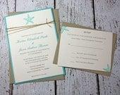 SAMPLE Starfish Wedding Invitations/Beach Wedding Invitation/Summer Wedding Invitations Robin's Egg Blue, Teal Invitation
