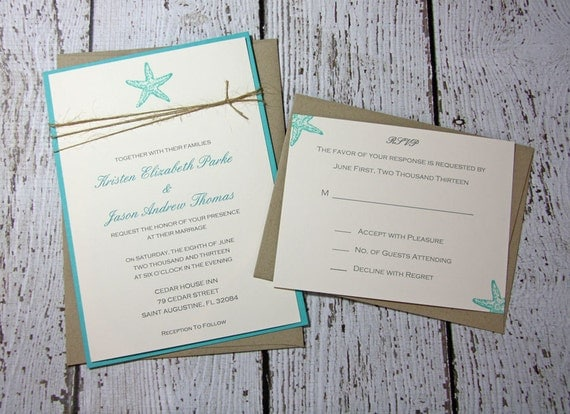 SAMPLE Starfish Wedding Invitations/Beach Wedding