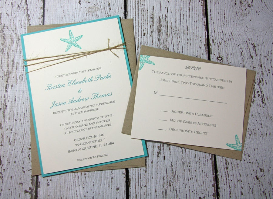 Beach Themed Wedding Invitations Templates: SAMPLE Starfish Wedding Invitations/Beach Wedding