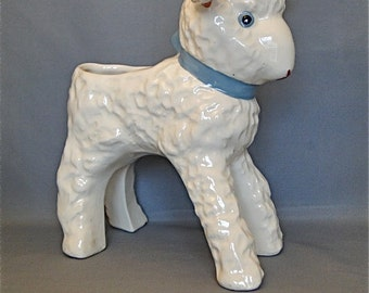 Lamb Planter With a Blue Bow