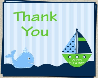 Nautical, Thank You Cards, Baby Shower, Ahoy Its a Boy, Whale, Anchor, Stripes, Green, Sailboat, Free Shipping, AIBGW, 100 Folding Notes