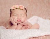 Baby Headband, Newborn Girl Photo Prop, Pink & Ivory Rose Flower Headband, Skinny Flower Headband, Newborn Photo Props, Baby Headbands