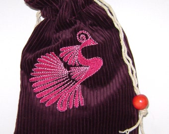 Lovely Pink Primitive Bird on Maroon Corduroy Bag/Pouch - Tarot, Oracle, Runes, Gaming Dice, Anything