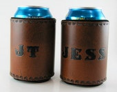 Personalized Leather Can Holder Custom Made to Order Can Cooler Hand Tooled Leather Can Chiller Insulated Beverage Holder Hand Stamped
