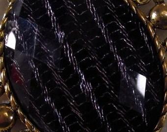 40x30mm - Black/Lavender Fashion Cabochon - 1 pc : sku 01.26.13.11 - U4