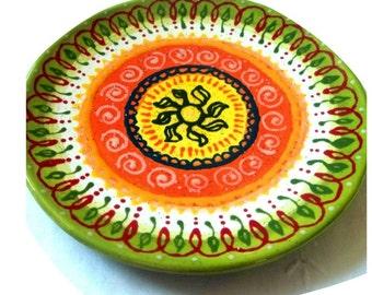 Flowers and Swirls Ceramic Plate