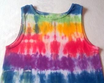 Upcycled Tie-dye Rainbow Stripe Kid's Tank