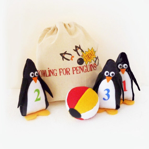 With Toys Penguin Tots : Toy plush game bowling penguins