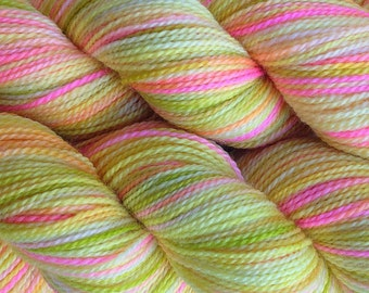 Fingering Weight Hand Painted Merino Wool Sock Yarn in Mango Tango Yellow Pink