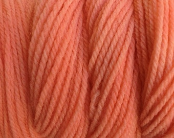 Melon Orange Worsted Weight Hand Dyed Merino Wool Yarn