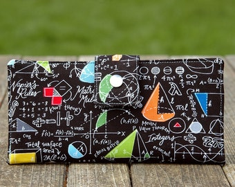 Handmade clutch wallet math in black and multi color all vegan materials