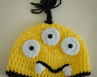 Crocheted Baby Monster Hat  newborn to 3 year sizes