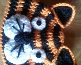 Crocheted Baby Tiger Hat  Newborn to 3 years  You choose size