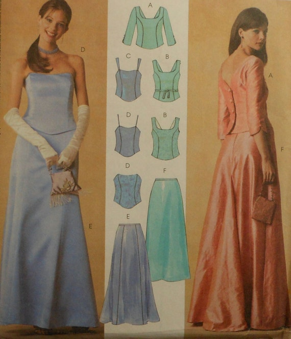 Formal top and long skirt sewing pattern uncut by for How to ship a wedding dress usps