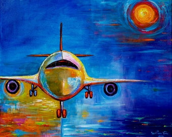 Abstract Modern Original Acrylic Painting Marlina Vera Fine Art Gallery Airplane Texture Impasto on canvas artwork Sale