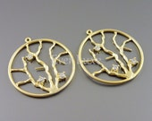 2 tree branches with cubic zirconia studs in round circle frame pendants / nature branch jewelry findings 1517-MG (matte gold, 2 pieces)