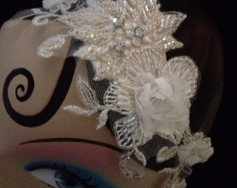 Bridal millinery wedding lace headpiece Alexandra Beaded Lace & Diamanté headpiece - Made to Order