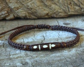Brown Tube Bone Knot Unisex Bracelet