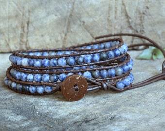 Sodalite 3 Wrap Leather Bracelet, coconut button