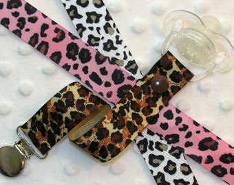 Leopard Print Pacifier Clip Soothie Holder, Pink or Brown